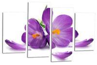 FLORAL FLOWER Art Picture Purple Grey Orchid Love Wall Print Split Canvas