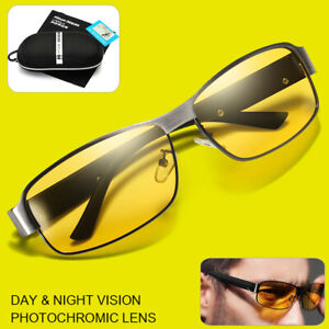 Men Driving Polarized Sunglasses Anti-glare Day Night Photochromic Lens Glasses.