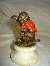 Vintage Antique Cold Painted Monkey  Statue Sculpture on onyx base