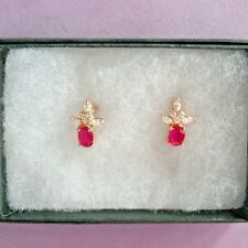BEAUTIFUL ROSE GOLD EARRINGS WITH NATURAL RUBY AND TOPAZ 3GR. 1.5 CM.WIDE IN BOX