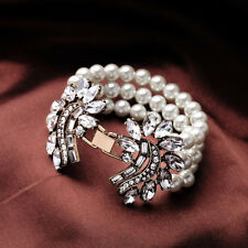 Bracelet Golden Three Row Pearl White Vintage Period Original Open CT4