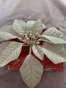Cream poinsettia Clip On Christmas Tree Sparkly Decorations Brand New X 2