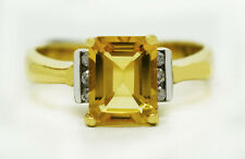 GENUINE 2.93 Cts YELLOW TOPAZ & DIAMOND RING 14K YELLOW GOLD * * Made in USA**