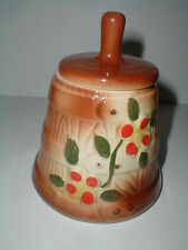 American Bisque Pottery BUTTER CHURN Red Flower Canister w Lid