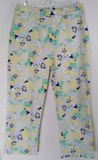 Sport Haley Cotton Blend Floral Pants Size 10 Yellow Green Gray