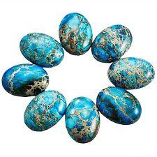 SUNYIK Sea Blue Oval Stone Cabochons Flatback Semi-precious CAB for Jewelry M...