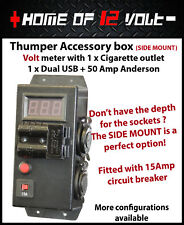 Thumper accessory box Volt meter SIDE ENTRY Cigarette Dual USB + 50Amp Anderson