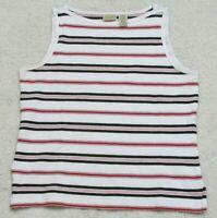 Tank Top T-Shirt St. John's Bay White Red Black Sleeveless Cotton Large Woman's