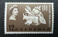 Malaysia Sarawak Freedom From Hunger 1963 Fish Farm Cow Rooster Rice (stamp) MNH