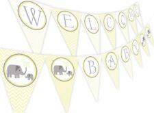 Little Elephant YELLOW Baby Shower Banner Pennant