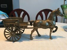 "Heavy Vintage Horse And Carriage Plant Garden Home Ornament Figure 15"" 9"""