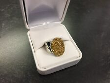 JAY KING DRT STERLING SILVER PYRITE ROUGH CABOCHON RING RARE W/BOX 7.5