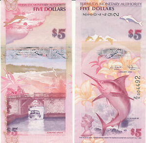 Bermuda - 5 Dollars 2009 UNC - Pick 58ar, Serie Z/0 - replacement
