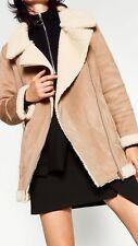 Zara Oversized Suede Shearling Aviator Biker Jacket Coat Size S Uk 8/10 Genuine