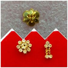 3 Pcs Indian Golden Wedding Clip On Fake Nath Piercing Stud Nose Ring Jewelry