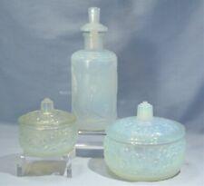 French Sabino Opalescent Art Glass Perfume Bottle & Pair Powder Boxes 'Frivolite