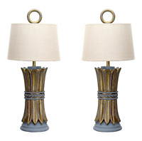 Pair Mid-Century Hollywood Regency Table Lamps - Wheat Lamps, Pair of Lamps