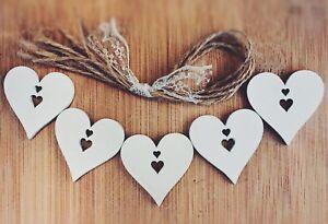 wooden hanging hearts Decoration Rustic Nordic White 5x heart xmas wedding boho
