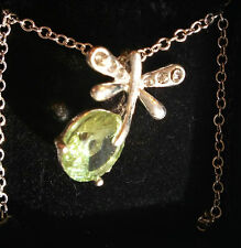 Dragonfly Necklace Blueish green stone Silver tone Extension chain FREE SHIPPING