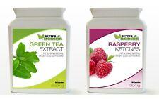 60 Raspberry Ketone & 60 Green Tea Bottle Colon Cleanse Weight Loss Diet Pills