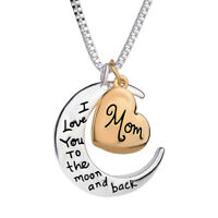 Heart Moon Pendant Necklace I Love You To the moon and back Mom Christmas Gifts
