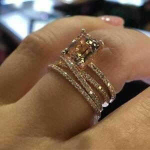 14K ROSE GOLD FILLED 3PCS RING SET WITH CHAMPAGNE TOPAZ & ZIRCONIA SIZE T 1/2