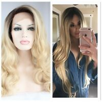 Sexy  Hair Lace Front Wig Long Curly Wavy Full Wig Black Ombre Blonde Synthetic