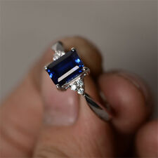 925 Silver Ring Natural Sapphire Women Men  Party Wedding Engagement Size 6-10