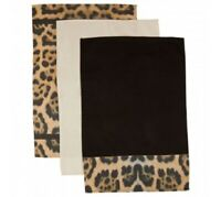 Leopard Print Set Of 3 Tea Towels 100% Cotton Kitchen Dish Cloth Cleaning Dry