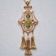 Antico Periodo edoardiano 9ct GOLD Peridot & Collana con pendente perla c1905