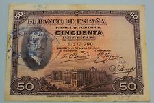 "50 PESETAS 1927 SPAIN SELLO REPUBLICA ALFONSO XIII BANKNOTE PICK# 80 ""G+"" CRISP"
