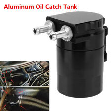 Car Baffled Aluminum Oil Catch Tank Can Reservoir Tank Fittings Oil Dipstick BK