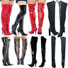 WOMENS LADIES MENS THIGH HIGH OVER KNEE BOOTS FRONT LACE STILETTO HEEL SIZE