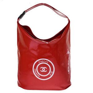 Authentic CHANEL CC Logo Waterproof Etanche Hand Bag PVC Red Vintage 35MI326