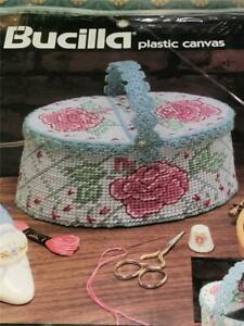 1990 Bucilla Plastic Canvas Needlepoint Kit Rose Sewing Basket 8X4 Opened