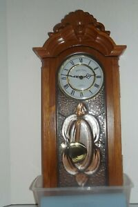 Boston Clock Co. Quartz Pendulum Wall Clock with Westminster Chime-NICE-WORKS!