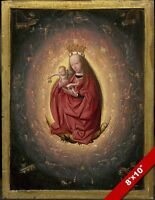 GLORIFICATION OF VIRGIN MARY & BABY JESUS CHRIST PAINTING ART REAL CANVAS PRINT