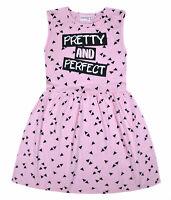 Girls Summer Dress Kids New Skater Dress Cotton Pink Black Age 2 3 4 5 6 7 8 Yrs