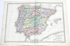 SPAIN PORTUGAL MAP ORIGINAL 1879 LEROY DRIOUX PHYSICAL AND POLITICAL CARTE