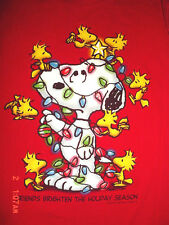 Womens Peanuts Snoopy-Woodstock-Christmas Lights Friends Holiday-Red-Tee-Shirt-L