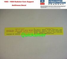 1965 1969 Chrysler Plymouth Dodge Antifreeze Radiatior Core Support Decal NEW