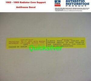 1965 1969 Chrysler Plymouth Dodge Antifreeze Radiator Core Support Decal NEW USA