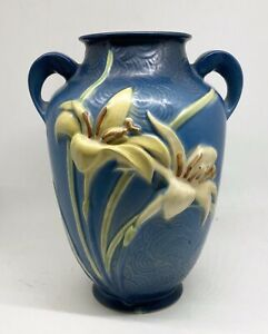 """Roseville Blue Zephyr Pottery Vase Lilies 8 1/4"""" As Is"""