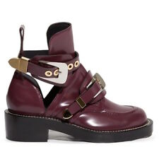 BALENCIAGA Ceinture Ankle Boots in Prune Burgundy Leather Size 37 — NWB