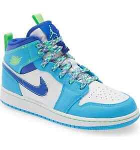 """Nike Air Jordan 1 Mid SE GS """"Sprite Blue"""" Size 5Y Women's Size 6.5 DA8010-400 DS"""