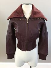 NWOT Rocco Tuscani Bomber Genuine Leather Jacket Sz Womens S Maroon Italian