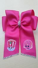 SHOPKINS POPPY CORN AND D'LISH DONUT HAIR BOW WITH TAILS HANDMADE FABRIC IRON ON
