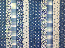 24 JELLY ROLL STRIPS 100% COTTON PATCHWORK FABRIC DENIM BLUE 22 INCH LONG