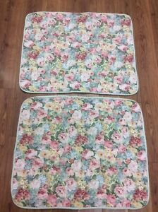 CROSCILL SHAMS SET OF 2 STANDARD FLORAL PINK YELLOW GREEN BLUE FRENCH COUNTRY