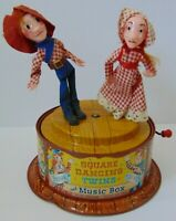 asIS Vintage 1950s MATTEL SQUARE DANCING TWINS TIN LITHO CRANK MUSIC BOX TOY USA